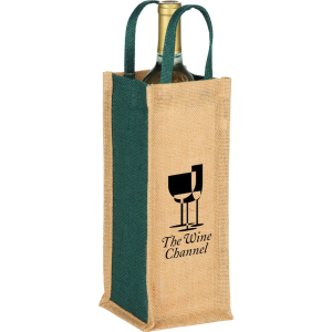 Jute Single Bottle Wine Tote